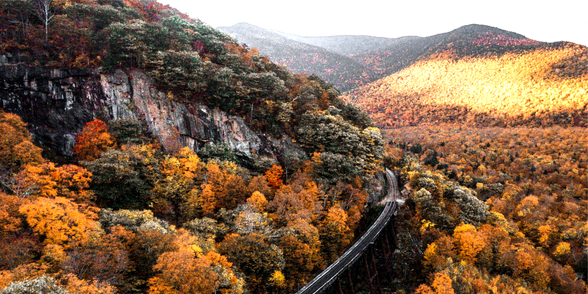 mountainside tracks in autumn